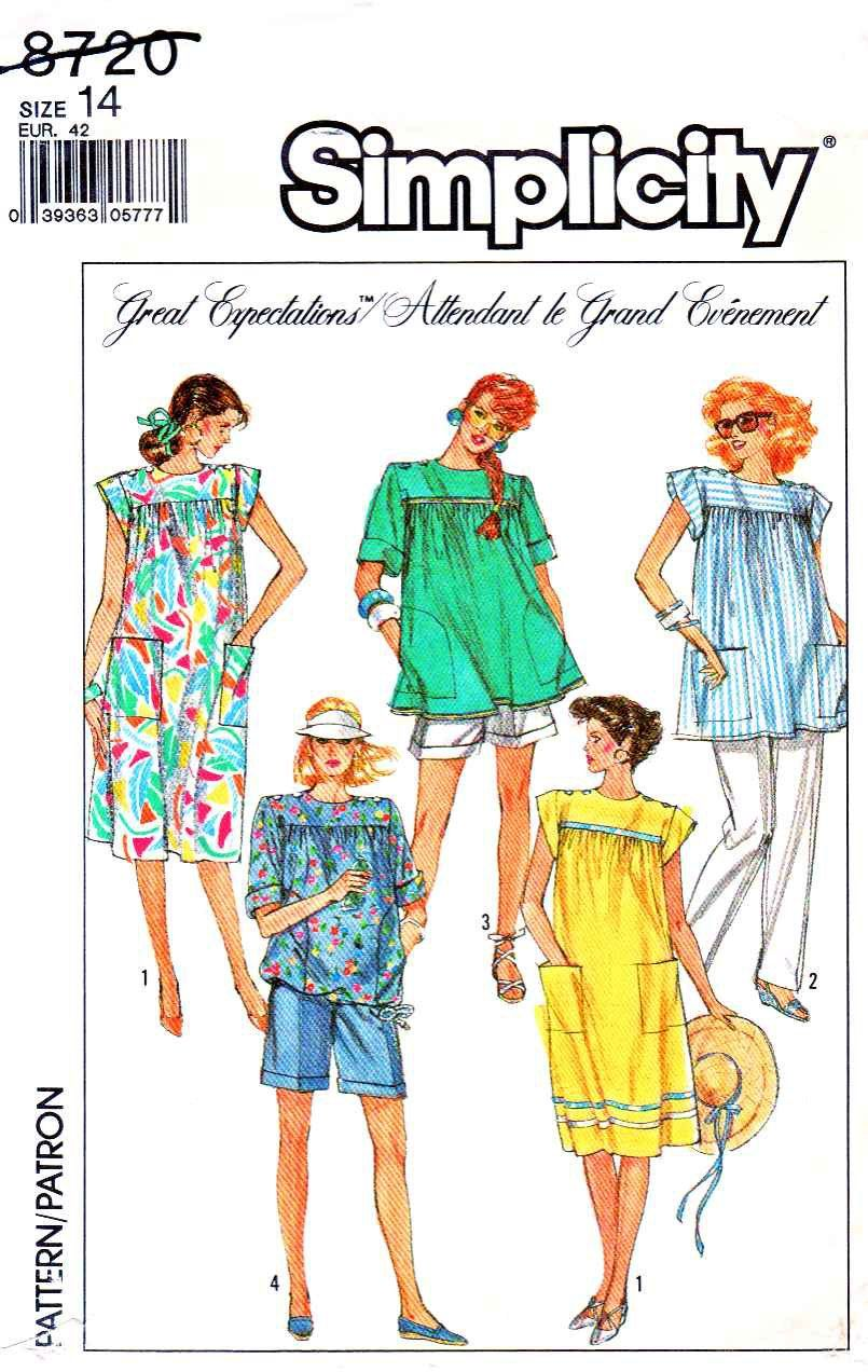 Simplicity Sewing Pattern 8720 Misses Size 14 Maternity Summer Dress Top Pants Shorts Top   Simplicity+Sewing+Pattern+8720+Misses+Size+14+Maternity+Summer+Dress+Top+Pants+Shorts+Top