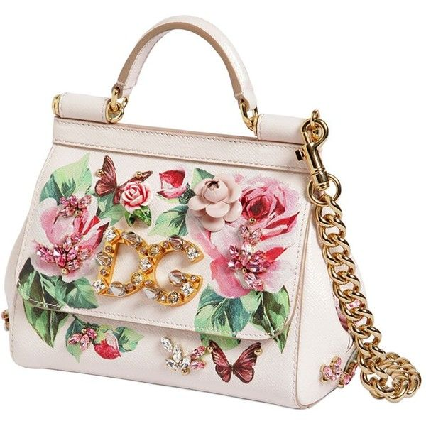 47636dab58 Dolce & Gabbana Women Small Sicily Rose Printed Leather Bag (39.290.980  IDR) ❤ liked on Polyvore featuring bags, handbags, shoulder bags, real  leather ...