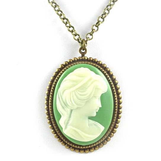 (11) Cameo Necklace, Green and Brass Cameo Necklace,Vintage Green and Brass Cameo Necklace from Tasha Hussey Jewelry