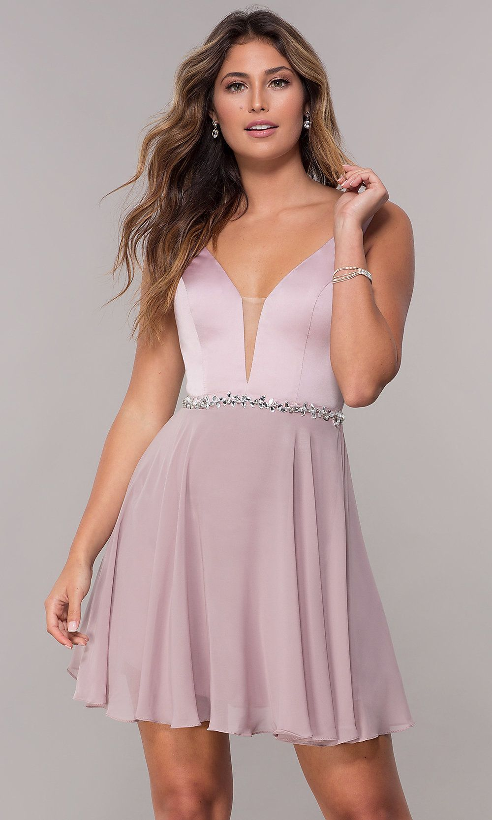2a21585a5e06 Chiffon Short V-Neck Homecoming Dress in 2019 | Sexy | Homecoming ...