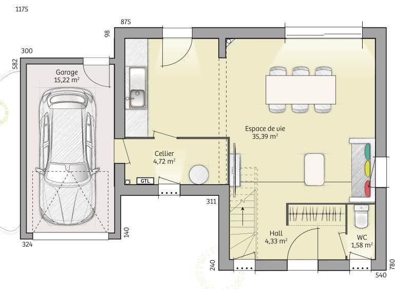 Plan achat maison neuve à construire - Maisons Balency Open Nord ETG - Construire Sa Maison Plan