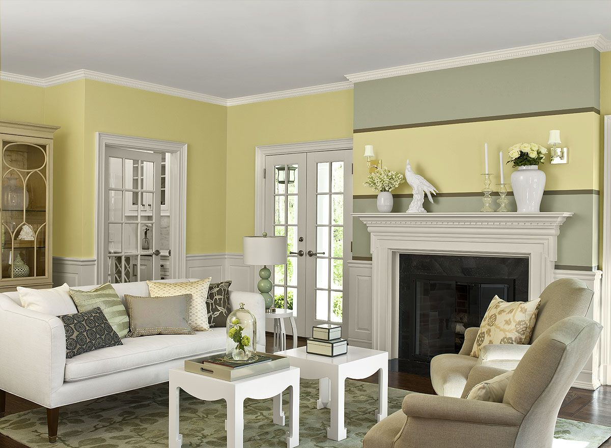 Classic living room paint colors - Pleasant Living Room Nuance With Lovely Paint Color Idea With Yellow And Teal Wall Paint Colors And Classic White Fireplace Mantel For Display Shelf Also