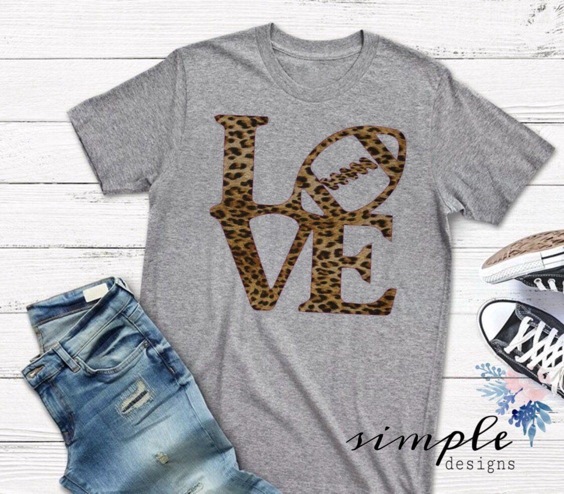 ef2190b0 Leopard Print LOVE Football T-shirt, Football Raglan, Falltime – Simple  Designs and More