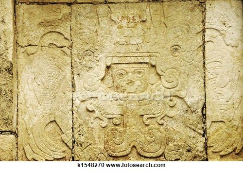 details of Maya glyphs in a sculpture in Chichen Itza, Yucatan,Mexico