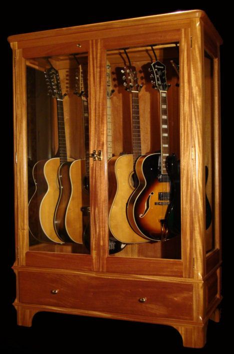 Mahogany storage cabinet w humidity control for guitars
