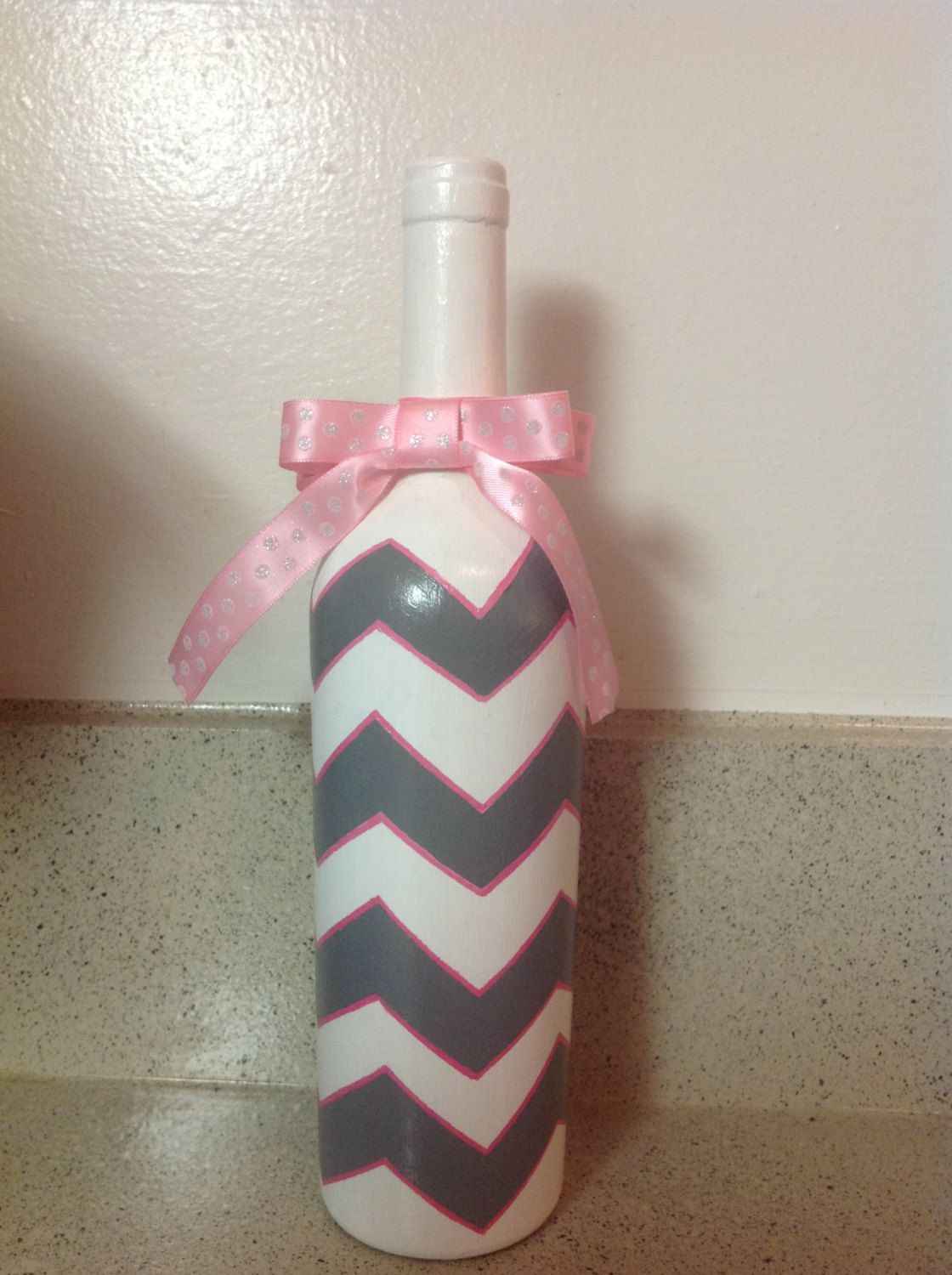 Grey chevron painted bottle by TheCreativeLittleMe on Etsy
