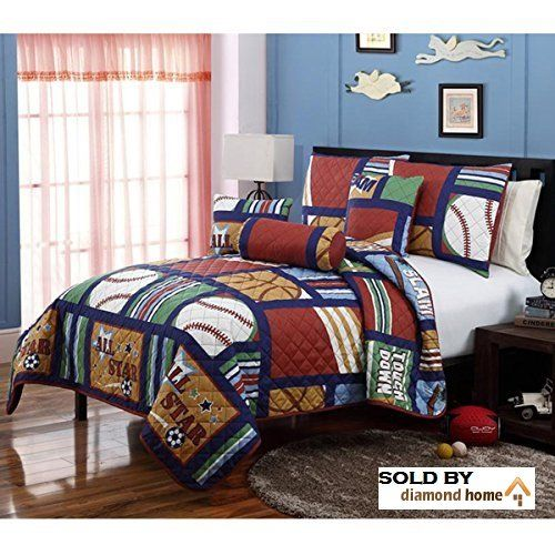 5 Piece Twin Kids Sports Themed Quilt Set Bedding Baseball Basketball Footabll Reversible