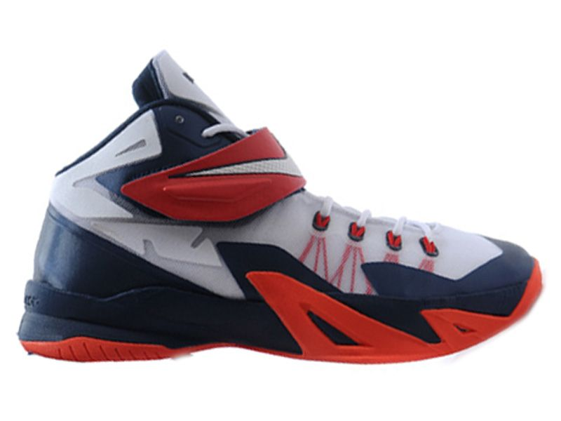 designer fashion 3e8db 76a03 Nike Zoom LeBron Soldier 8 VIII 2015 Chaussure de Basket-ball Pas Cher pour  Homme Blanc Bleu 653642-102