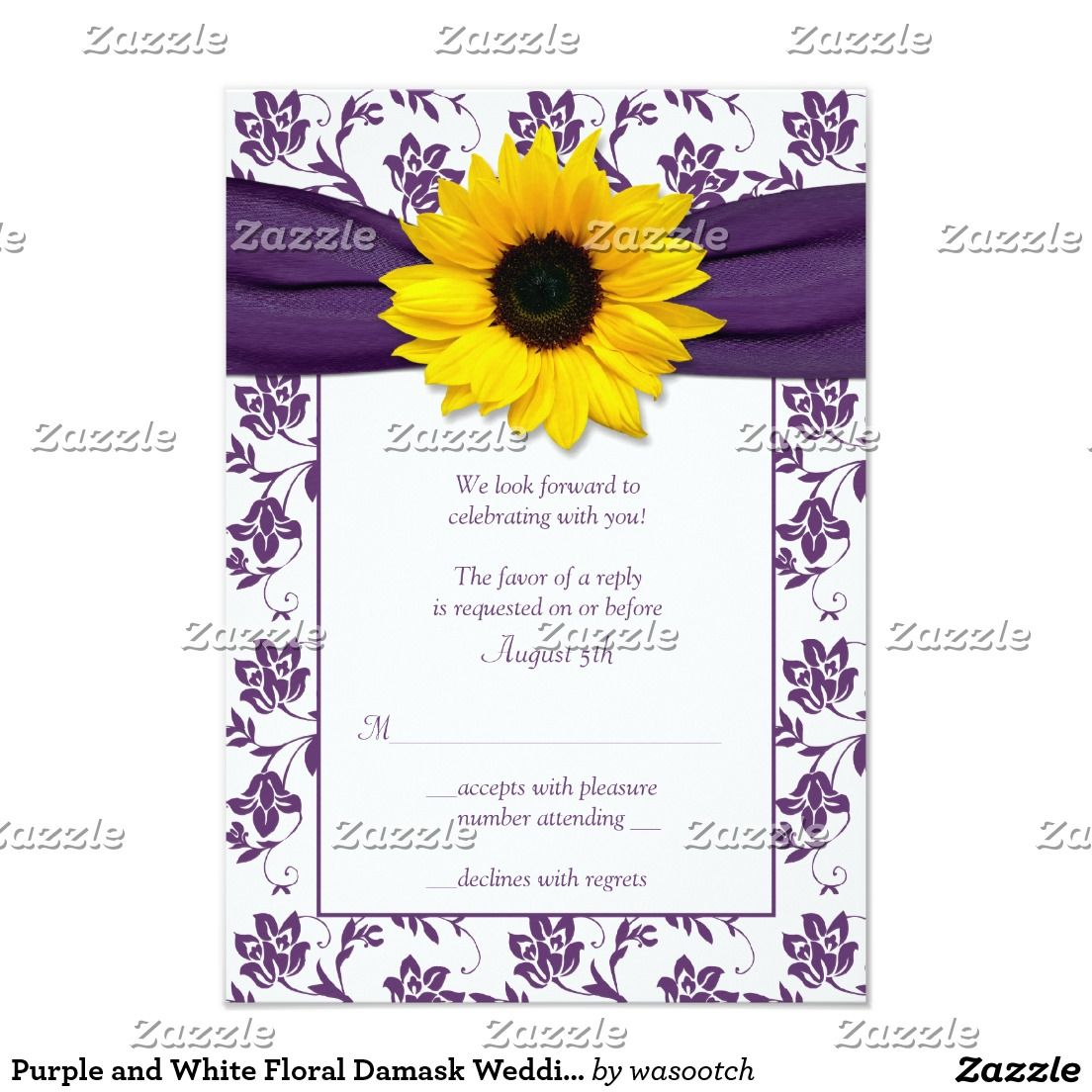 Purple and White Floral Damask Wedding Reply Card | Sunflower ...
