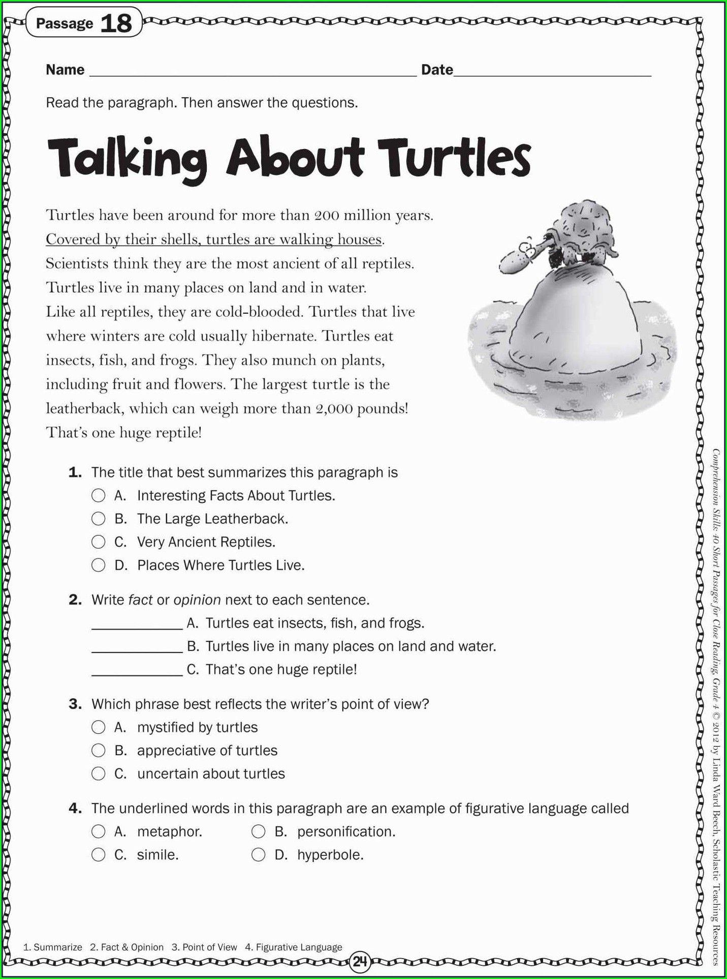 1st Grade Comprehension Worksheets Free In