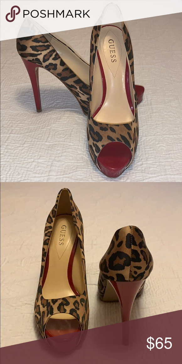Guess leopard print peep toe heels with