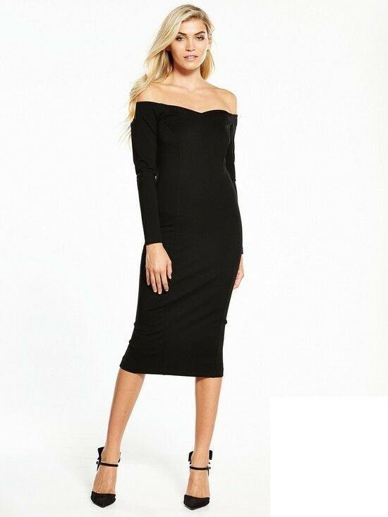 3b9fe8a26aeb V by Very Bardot Ponte Bodycon Dress Black Size UK 12 DH092 FF 12  fashion