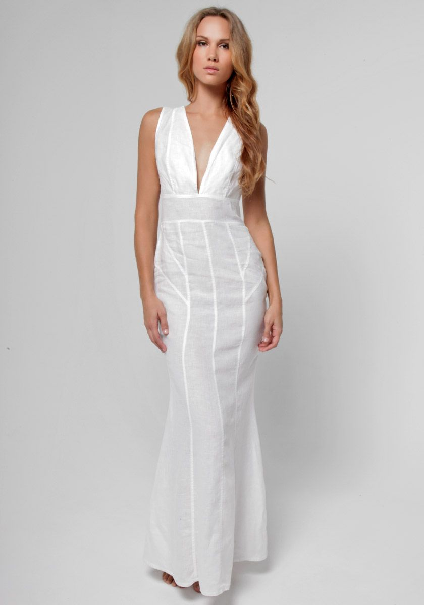 100% Linen Cut & Sew Plunge-Neck Maxi Dress in White | Shop ...
