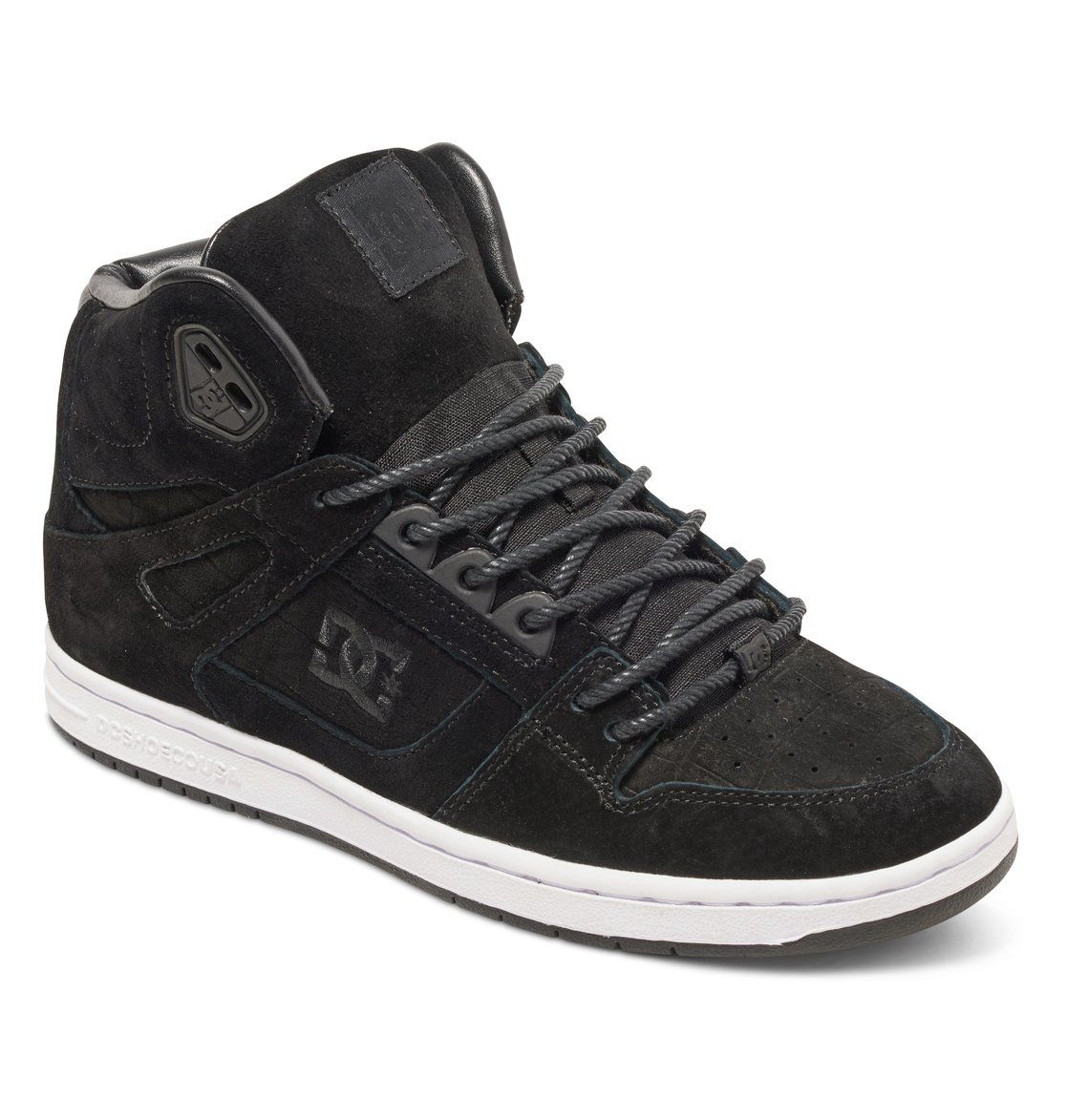 $85.00 dcshoes, Women's Rebound XE High Top Shoes, BLACK SMOOTH ...