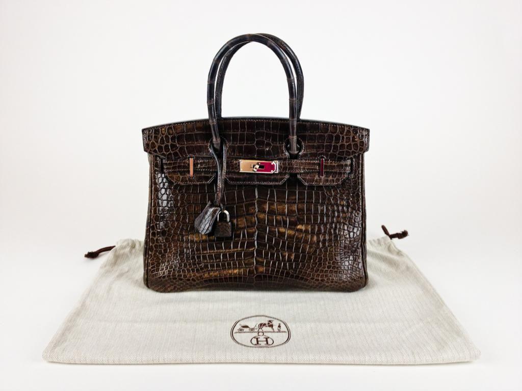 Authentic Hermes Birkin 30cm Havana Brown Crocodile Handbag With Dustbag 833510a203e31