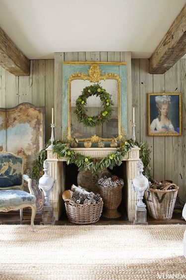 Rustic meets faded French grandeur Christmas.