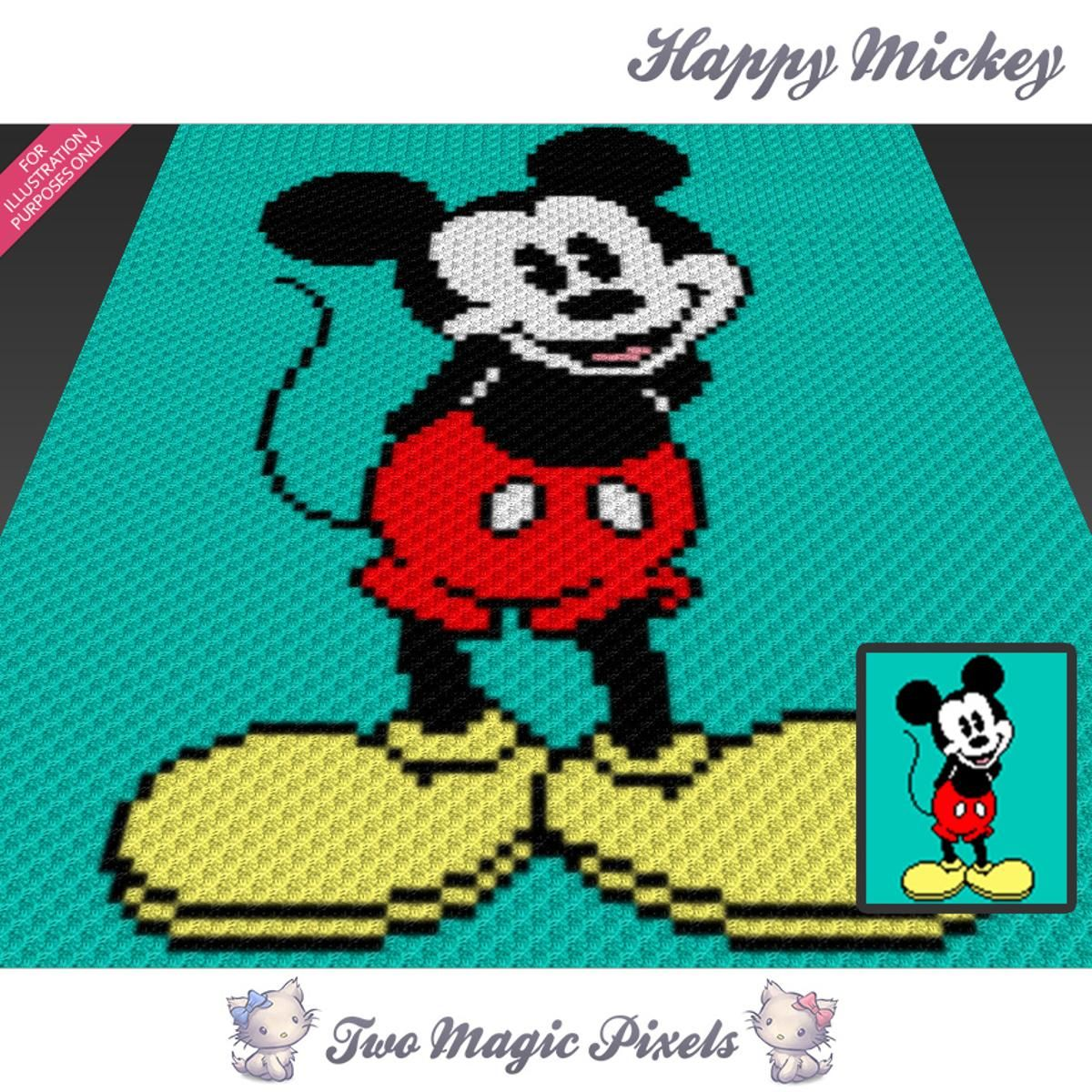 Happy Mickey C2C Crochet Graph | Decken, Handarbeiten und Vorlagen
