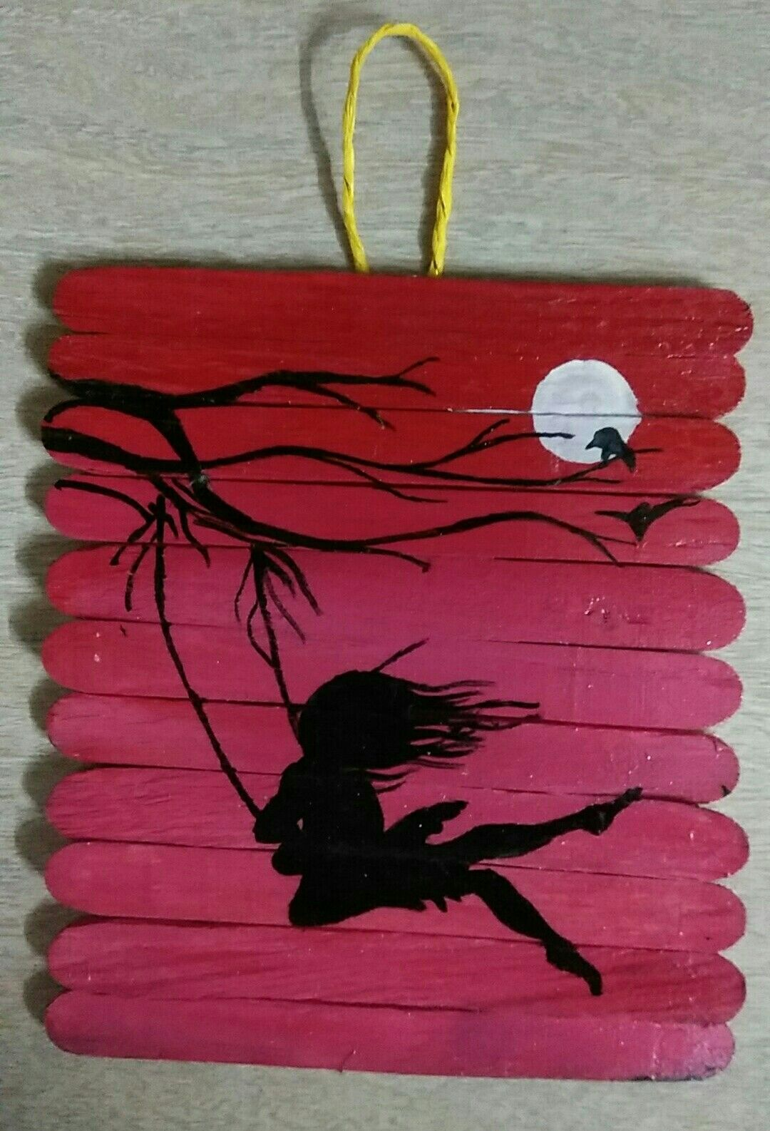 Pin By Craftedworld On Wall Hangings Made Up Of Ice Cream Sticks