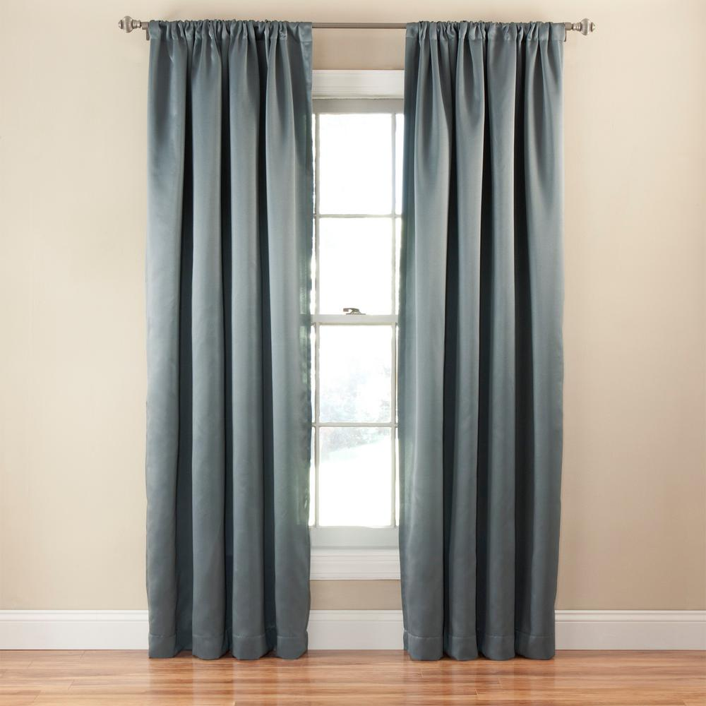 Eclipse Tricia 63 In L Polyester Rod Pocket Thermapanel In River Blue 1 Pack 14378052063rvb In 2020 Panel Curtains Curtains Room Darkening Curtains