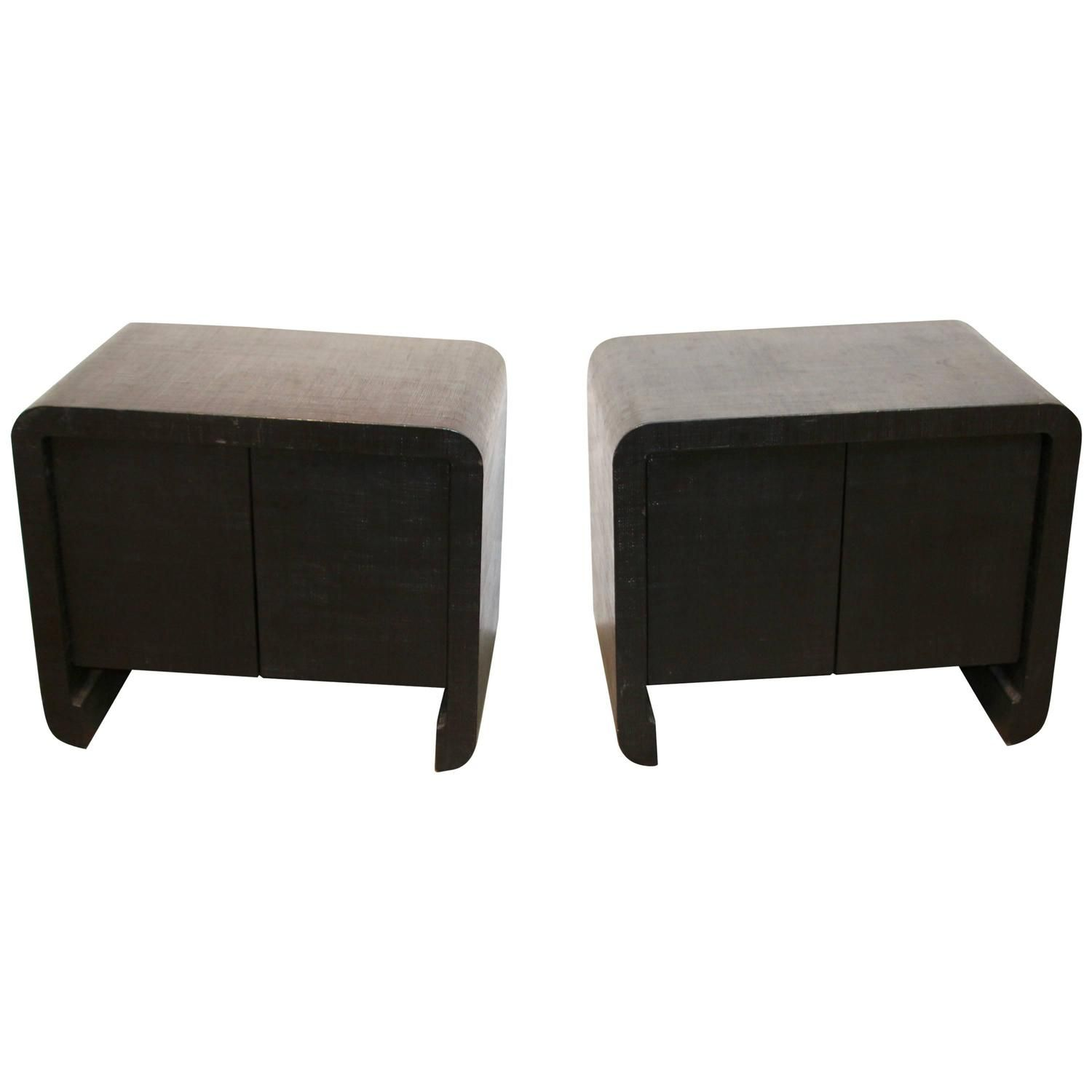 Pair of Harrison Van Horn Raffia Covered Nightstands Nightstands