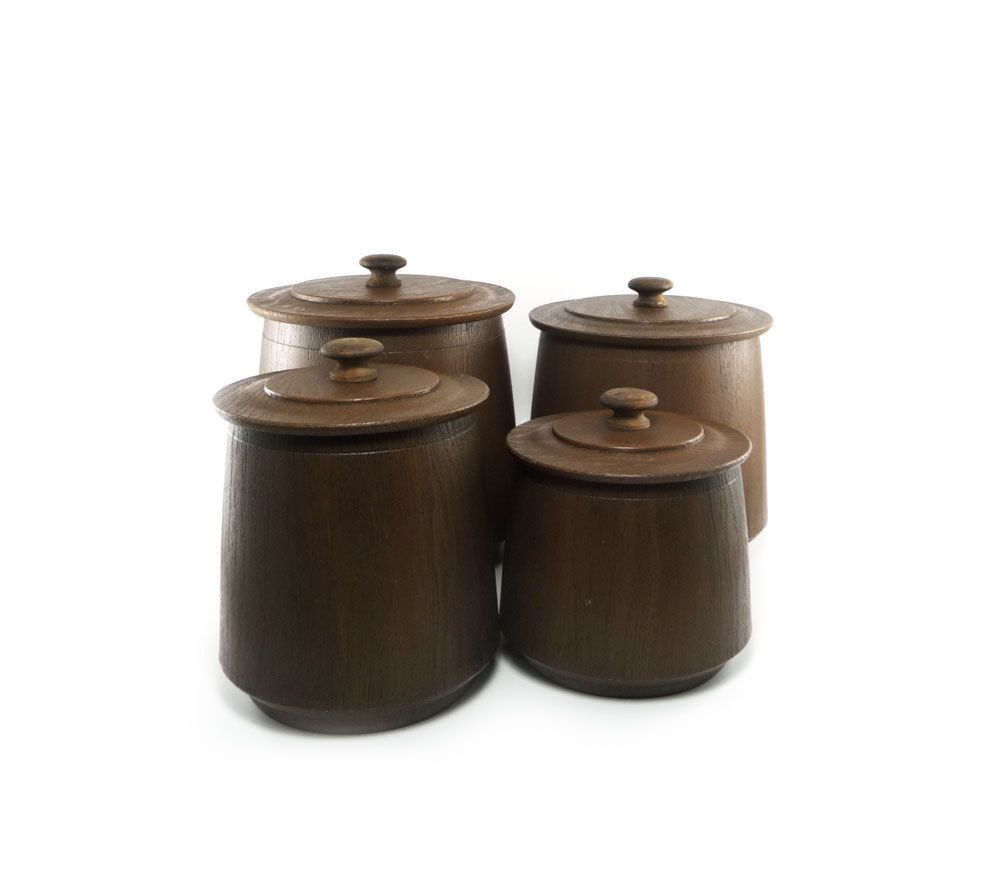 vintage faux wood canister set chocolate brown french roast vintage faux wood canister set chocolate brown french roast