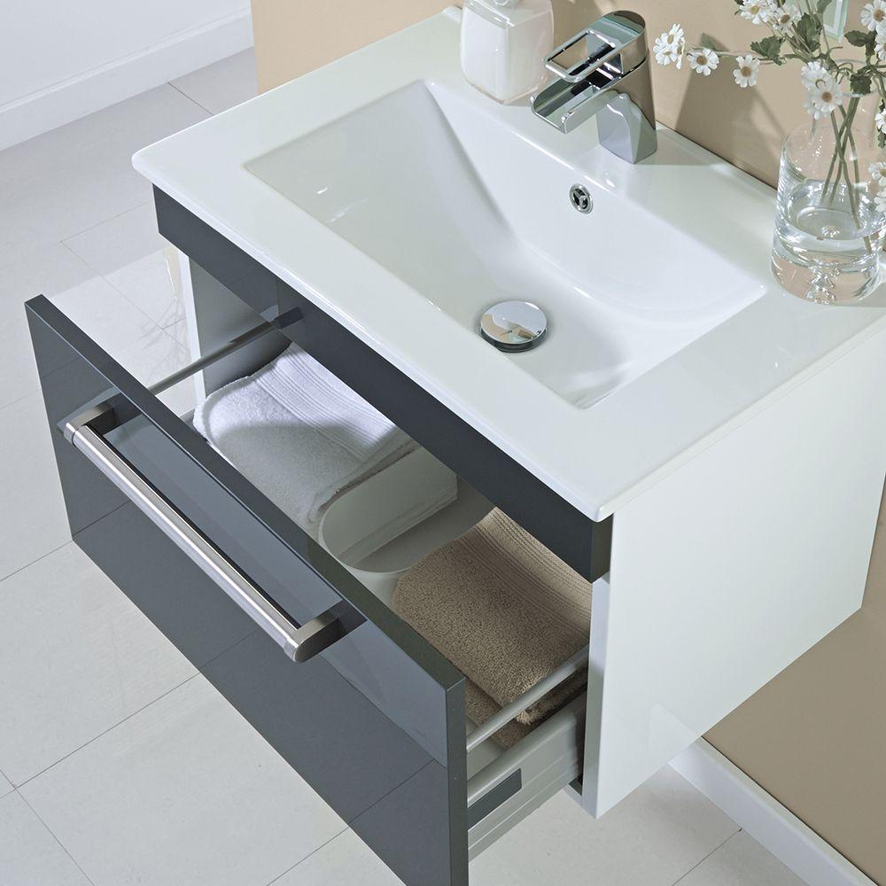 Milano 600mm Wall Hung Single Drawer Vanity Unit Gloss Grey ...