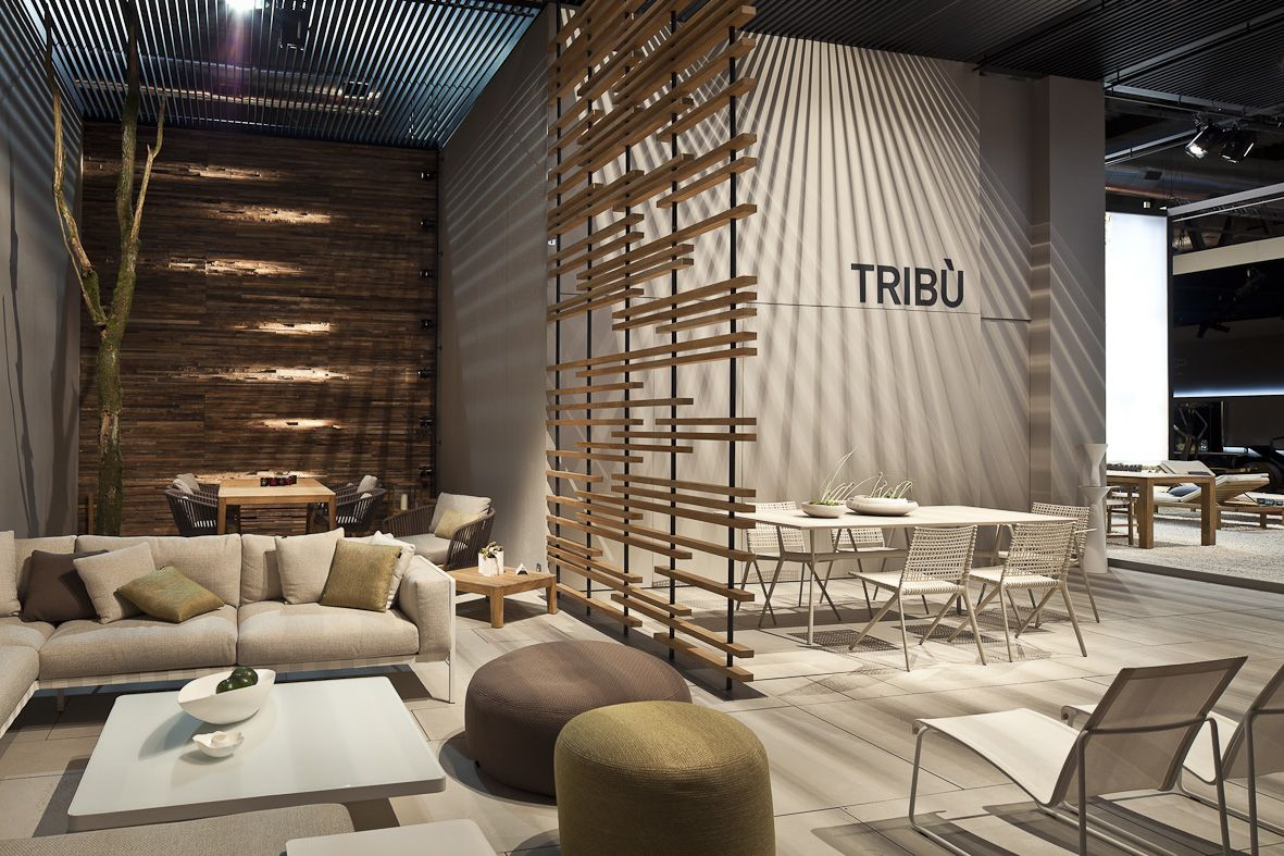 Tribu Stand Featuring Branch Vis A Vis And Natal Alu Sofa At The Milan Furniture Exhibition Standsoutdoor