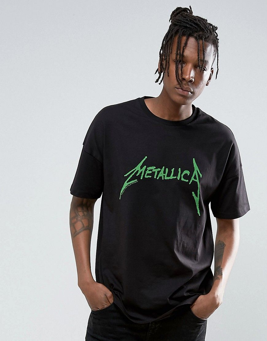 92a2026f Metallica Oversized Band T-Shirt With Fluro Logo Print | Products ...