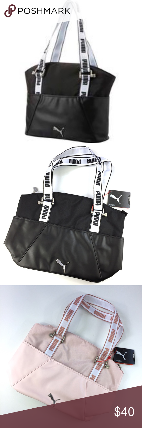 Puma Marnie Tote in Black or Pink New With Tags. This listing is for one Marnie  Tote in black or pink by Puma. Smaller Tote  duffle bag that s perfect for  a ... 193ecbc718278