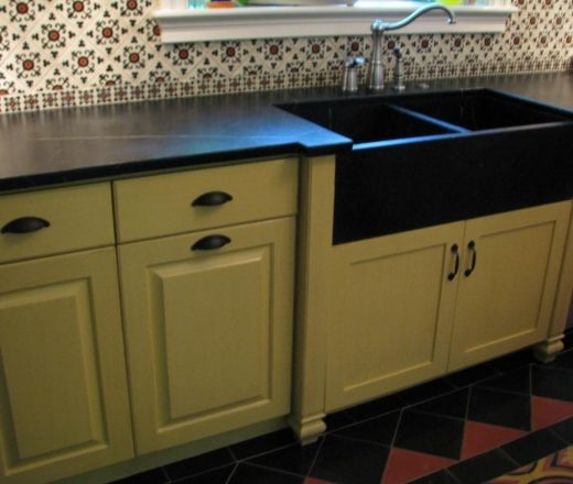 Elegant Traditional Galley Style Red Kitchen, Yellow Cabinets, $50,000   $100,000,  Phoenix · Sink CountertopSoapstone ...
