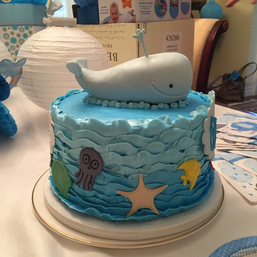 Baby shower ocean themed cake for a boy beautifully done