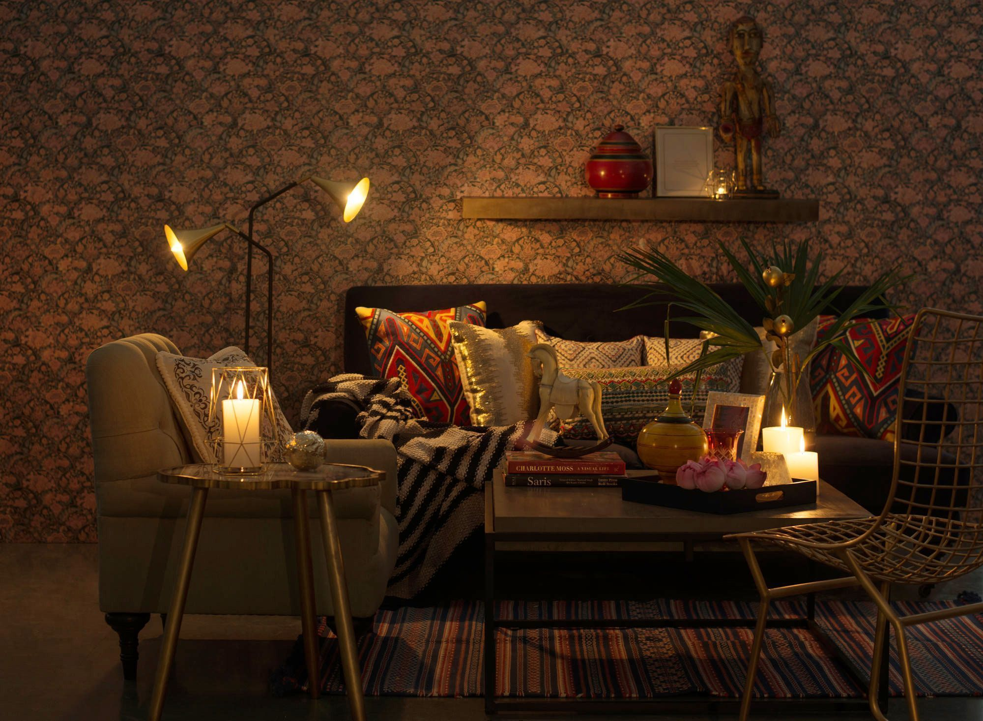 Create a dramatic indian living room with a bold mix of colours