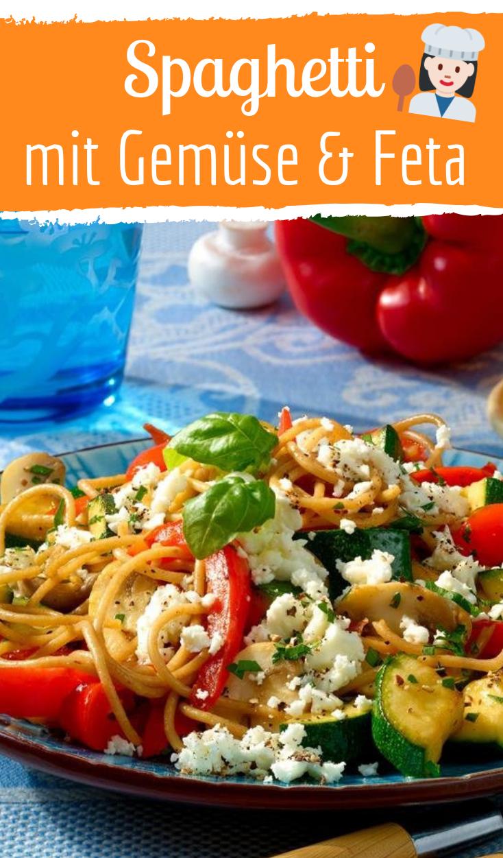 Gemüse-Spaghetti mit Feta #schnellerezeptemittagessen