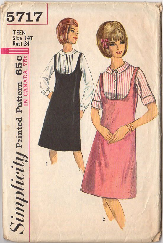 Vintage 1960s Simplicity Sewing Pattern 5717 Teen Jumper and Blouse ...