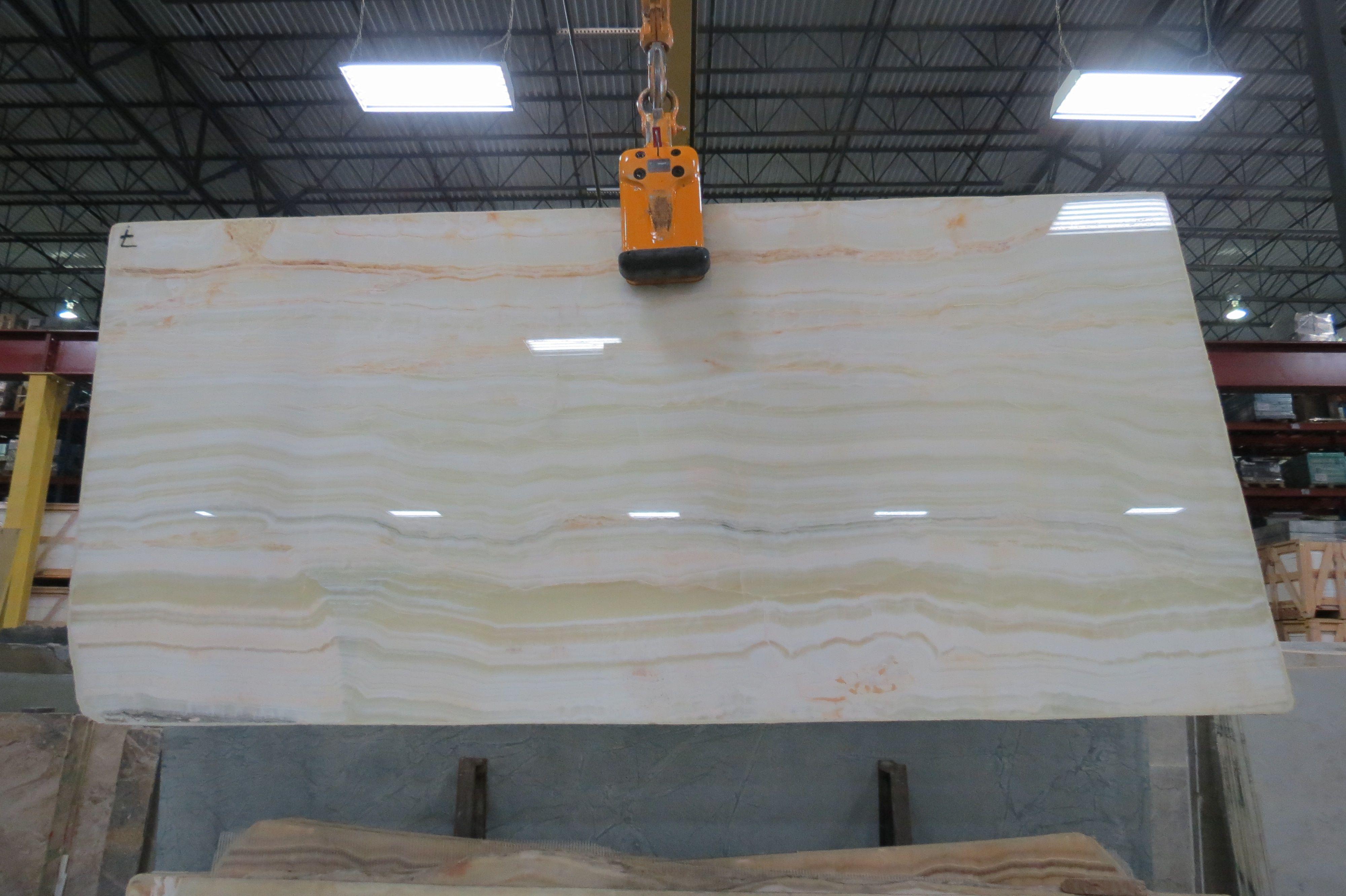 white onyx vein cut slabs (finish: polished) | kitchen interior