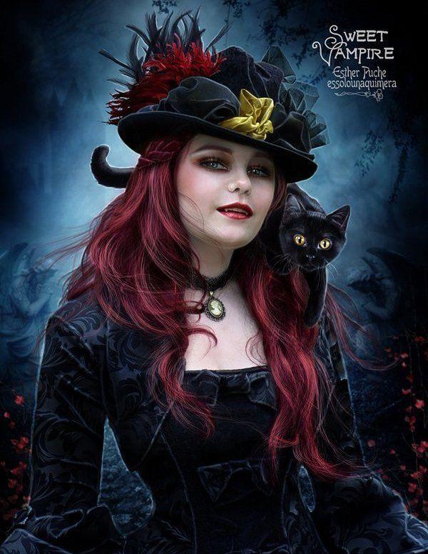 vampire lady with black cat halloween pinterest zeichnungen gothik und hintergr nde. Black Bedroom Furniture Sets. Home Design Ideas