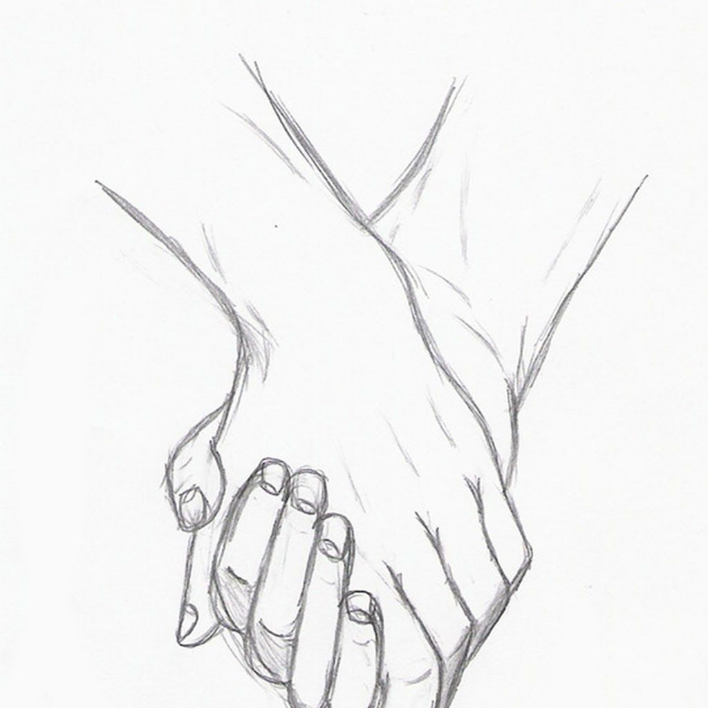 Cute Couple Holding Hands Sketch Pencil Sketch