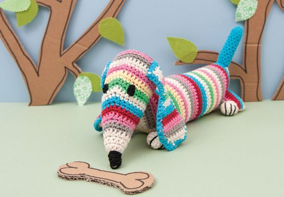 Amigurumi Wiener Dog Pattern : Stripy dachshund sausage dog crochet doorstop or draught excluder