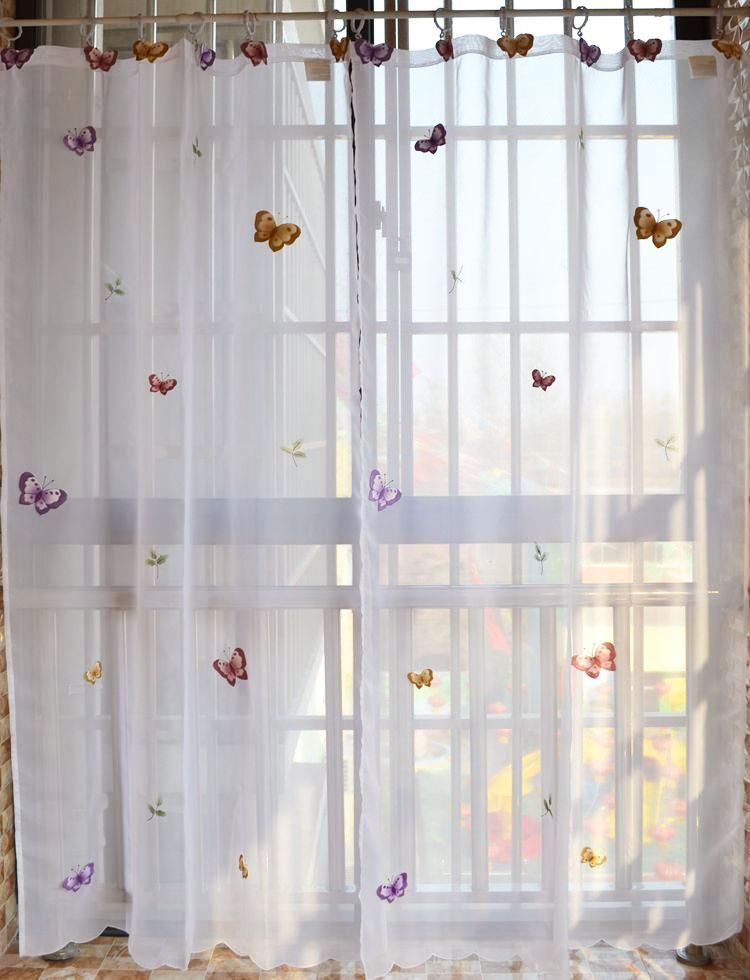 One Piece Beautiful 3d Butterfly Embroidery Sheer Cafe Curtain