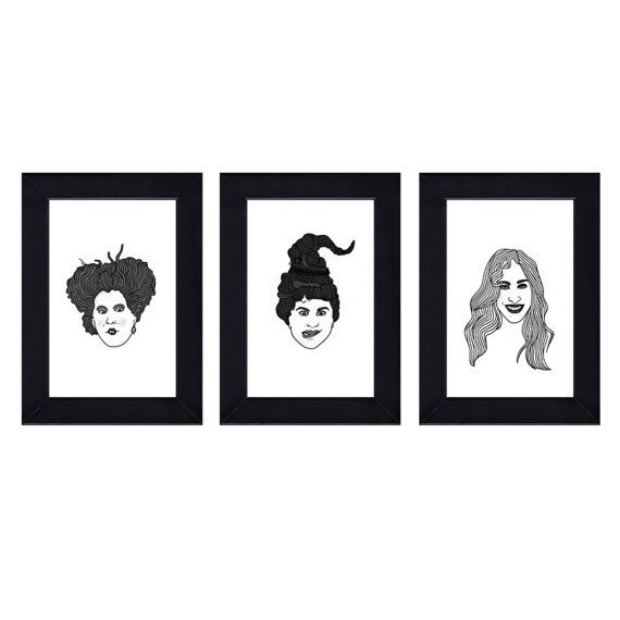 Set of 3 - 4 x 6 Framed Hocus Pocus Sanderson Sisters Halloween Prints - Winifred