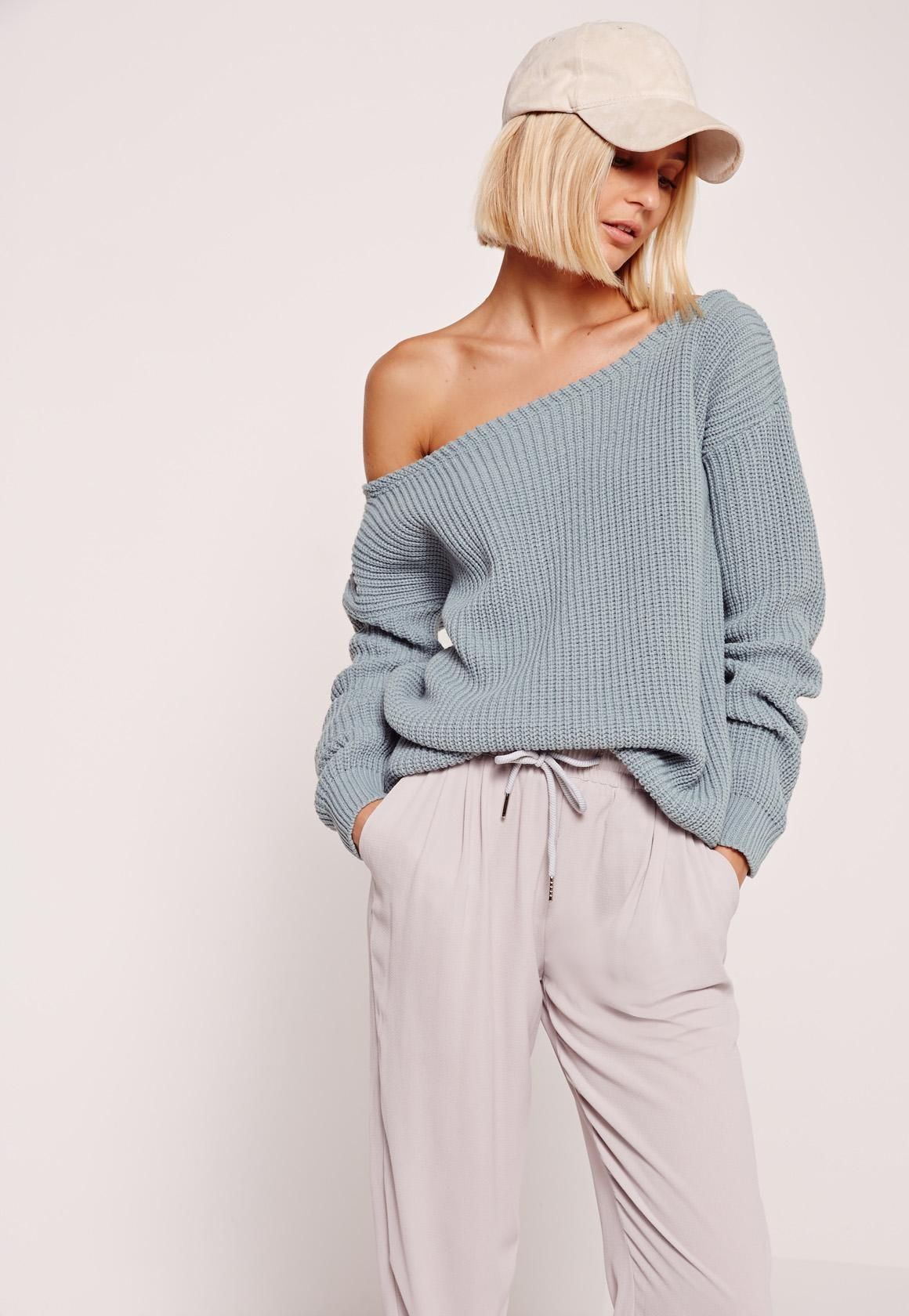 Missguided - Blue Off Shoulder Sweater | wishlist | Pinterest ...