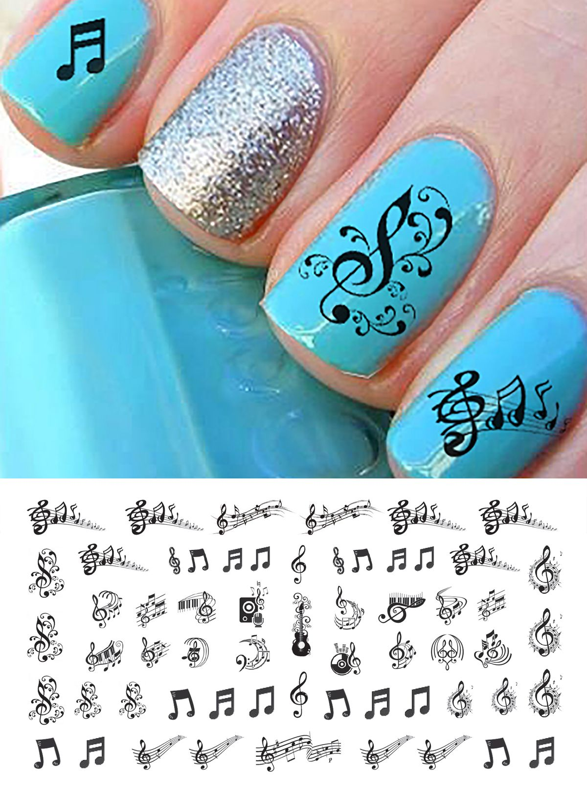 Sheet Music Note Nail Art from www.moonsugardecals.com | Sheet Music ...