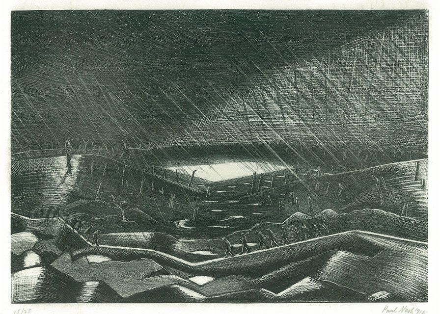 The War Art of Paul Nash (1917–1944) | Rain – Lake Zillebeke, 1918.