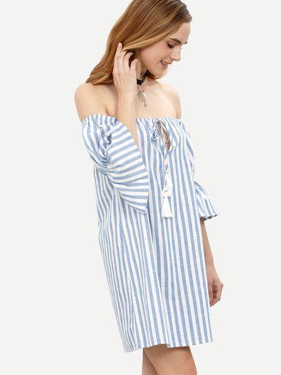 b25356e1fe Shop Blue Striped Tassel Tie Front Off The Shoulder Dress online. SheIn  offers Blue Striped