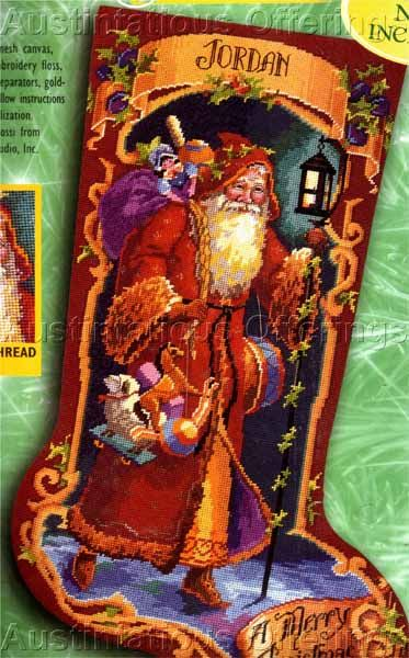 Rare Rossi Father Christmas Postcard Needlepoint Stocking Kit