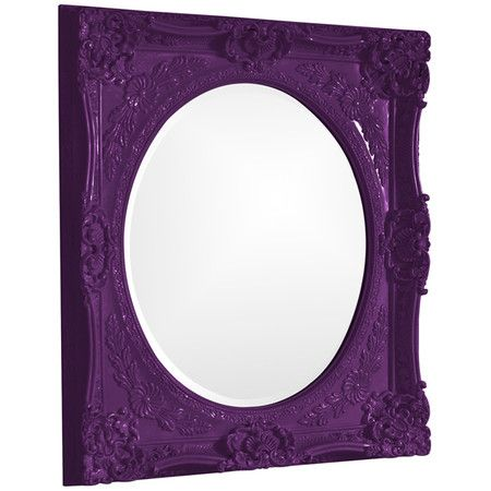 Wall Mirror With An Ornate Purple Frame Product Construction Material Resin And