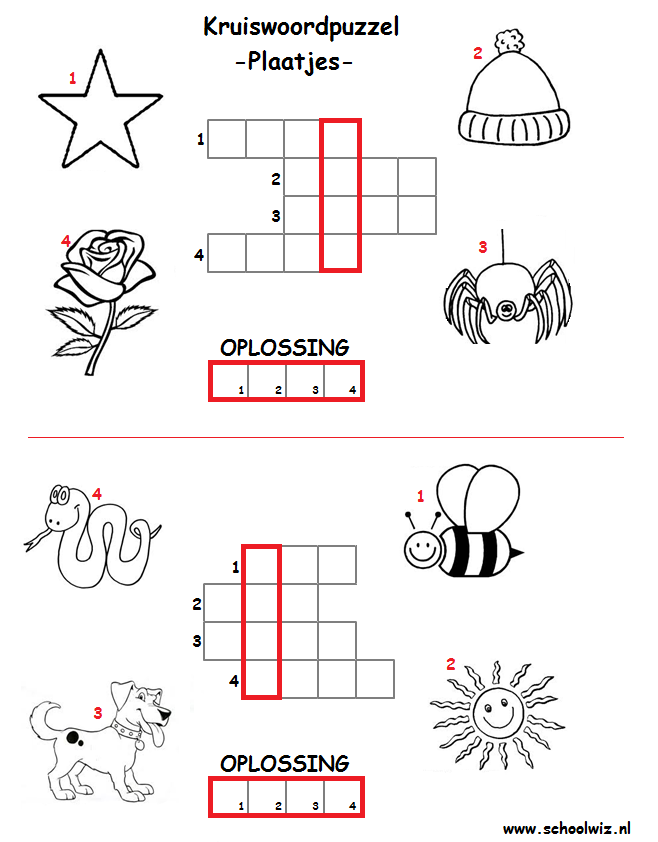 Fonkelnieuw Schoolwiz - Taaloefeningen groep 4   Kruiswoordpuzzel OX-72