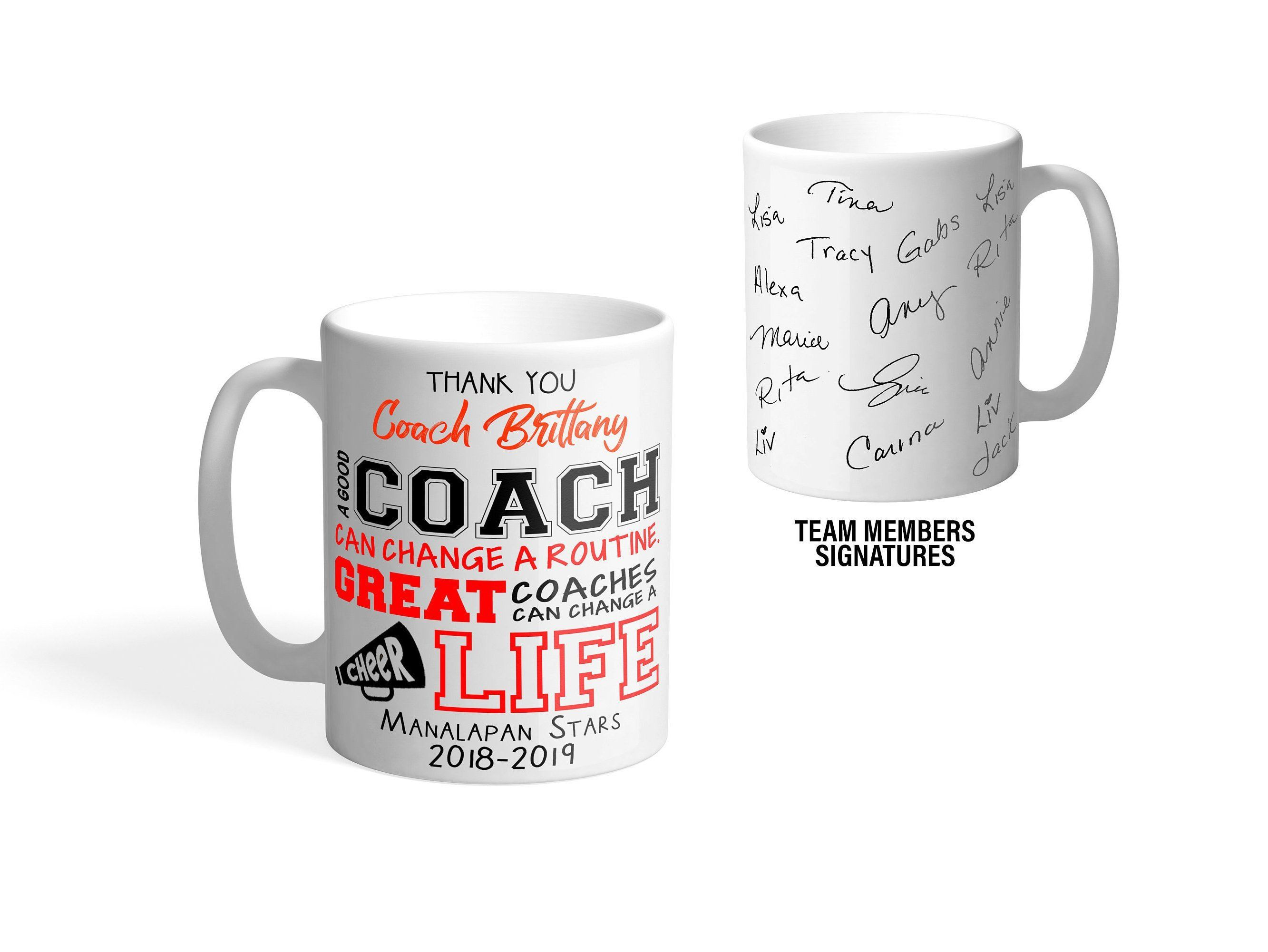 Cheer Coach Mug Personalized Cheer Team Mug Players