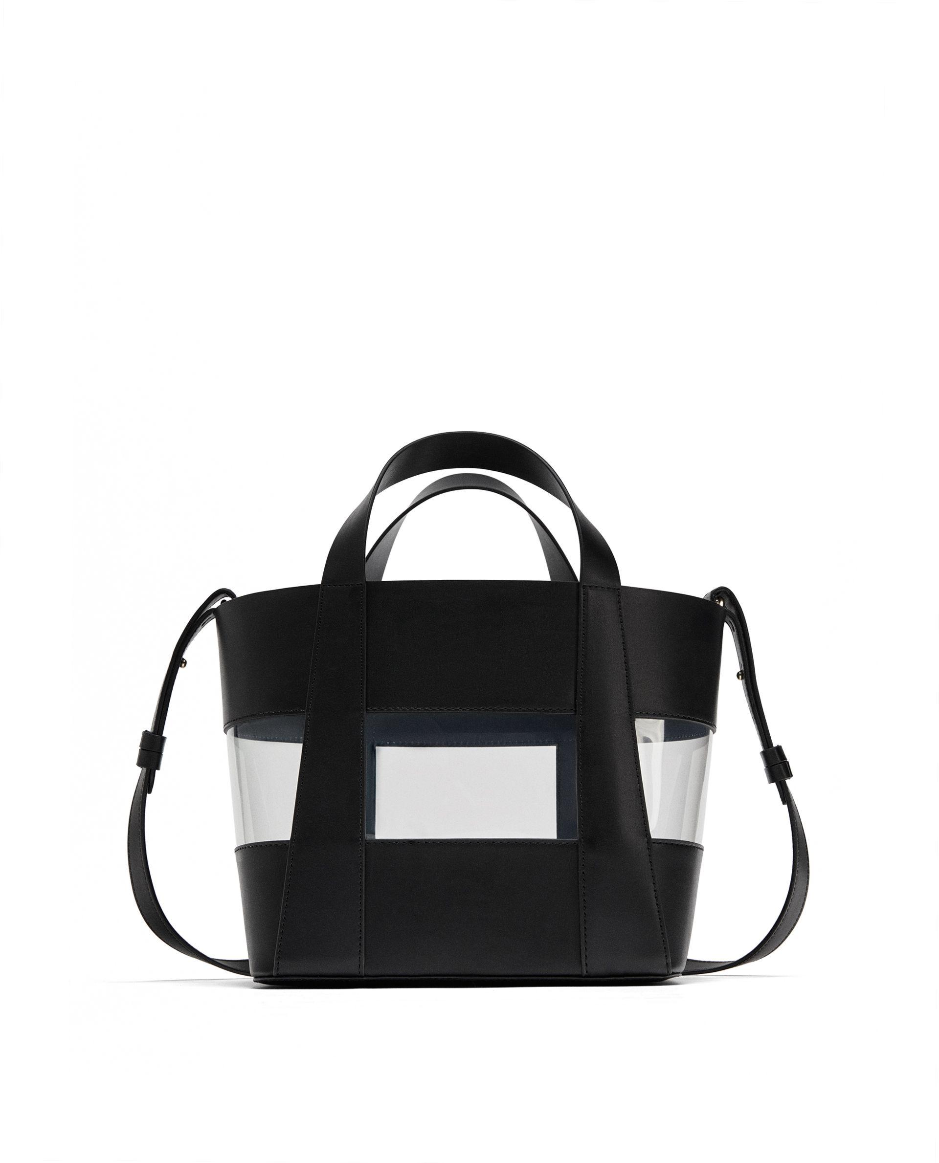 d3339dff4 Bolso negro con transparencia, de Zara Black and see-through bag, from Zara