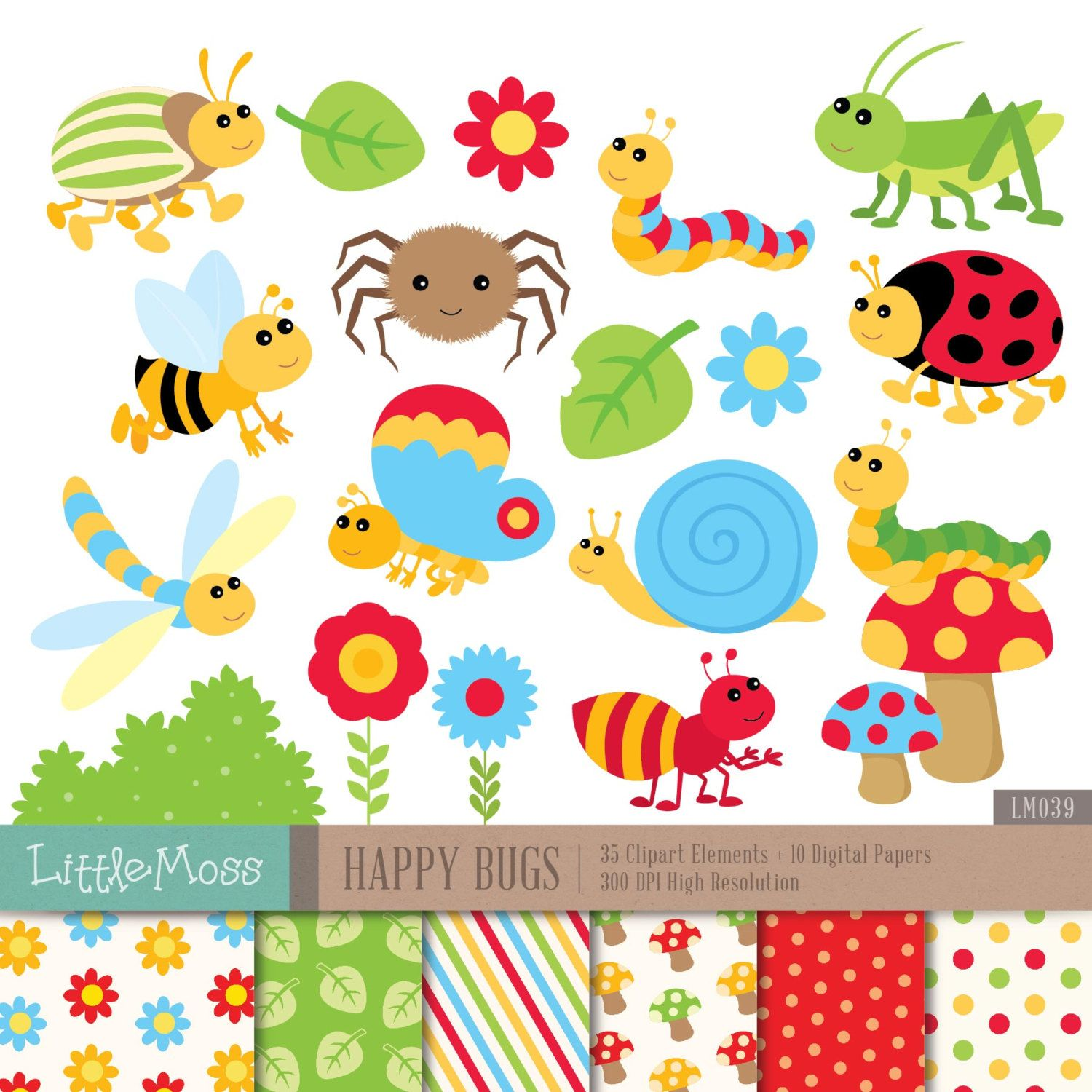 hight resolution of happy bugs digital clipart and papers bug clipart door littlemoss
